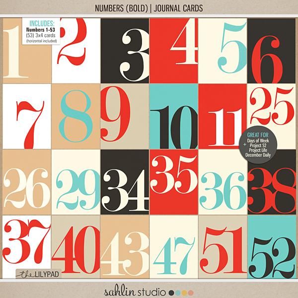 Number Journal Cards - Digital Printable Scrapbooking Journal Card
