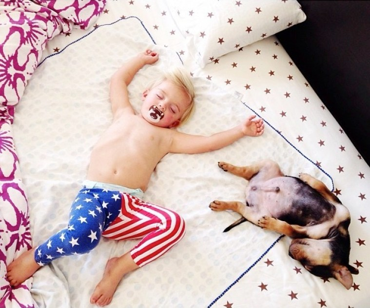Сонное царство: малыш Бо и щенок Тео