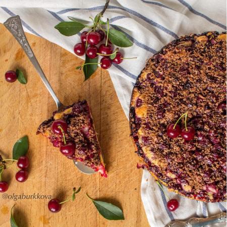 Рецепт вишневого пирога с шоколадом