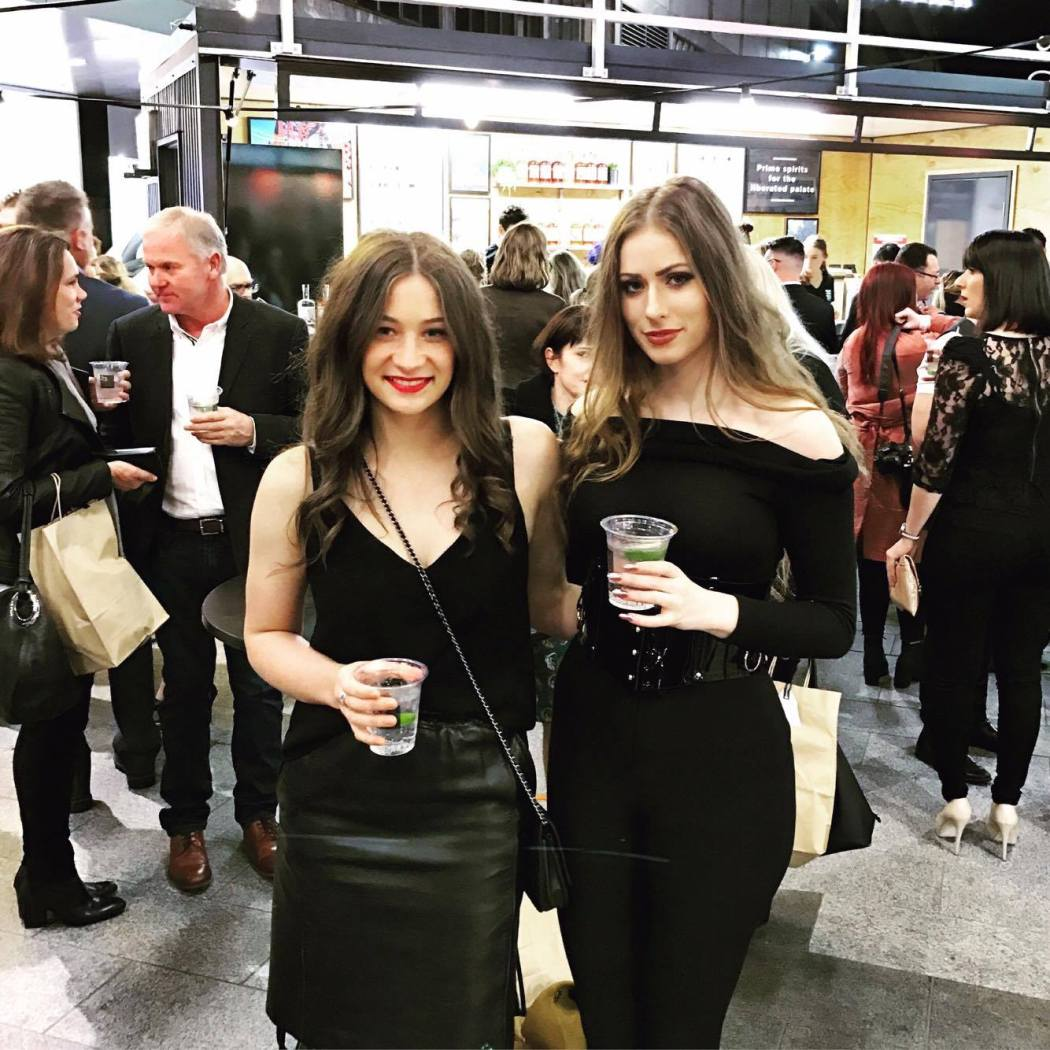 Taylah Minchington and Melissa Zahorujko at the 23rd Street distillery launch in rundle mall