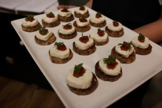 Goats cheese canapes at the launch of La Provence on Pirie Street,