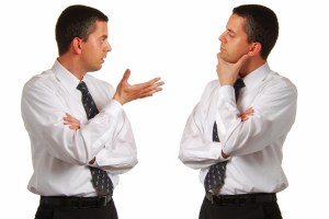 Business Man Talking to Himself