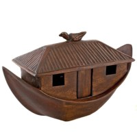 Hand Carved Wooden Noahs Ark with Animals