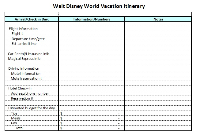 vacation plan format - Maggilocustdesign