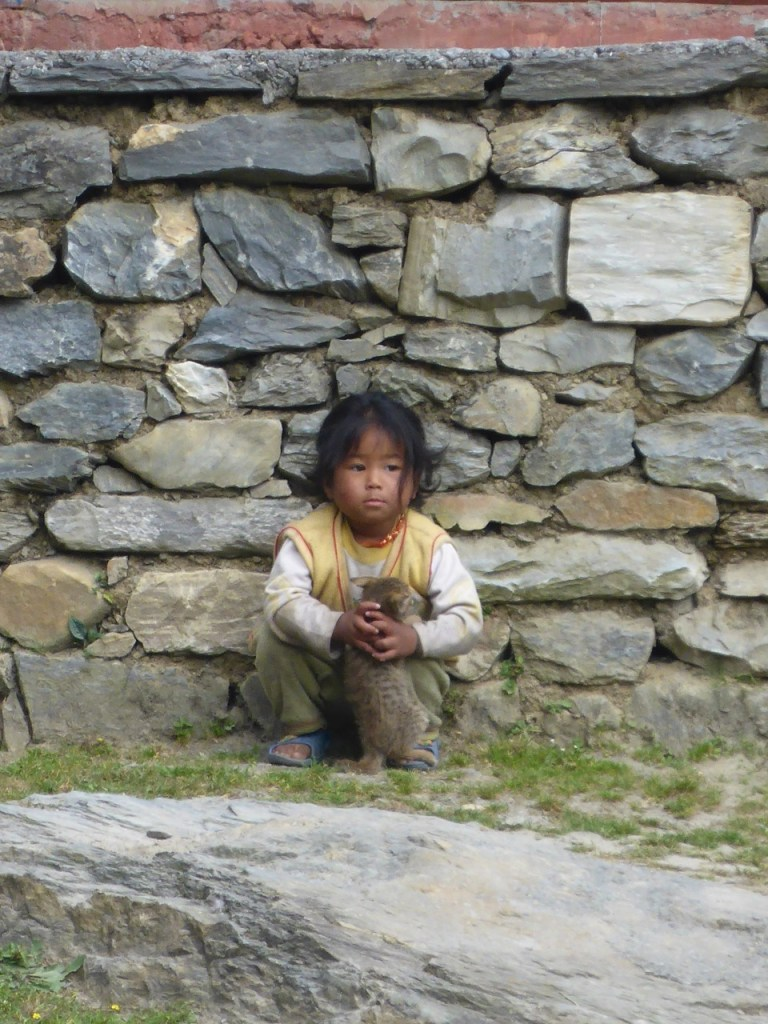 Little Nepali Girl with Kitten