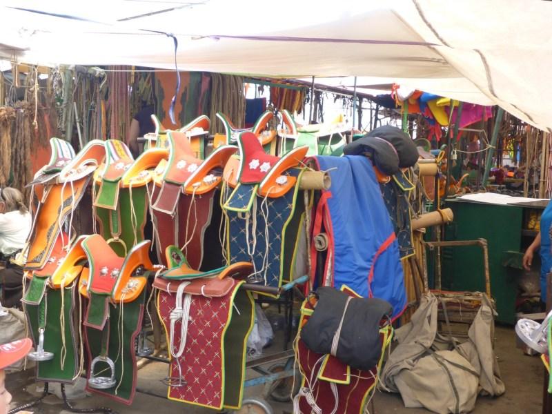 Saddles at the black market in UlaanBataar