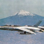Two U.S. Air Force Republic F-105 Thunderchiefs, an F-105F-1-RE (s/n 63-8280) and an F-105D-31-RE (s/n 62-4355), with Mt. Fuji, Japan, in the background.