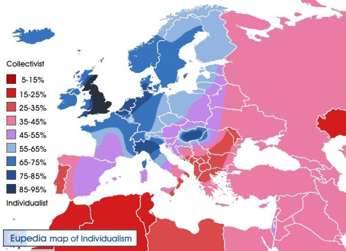 European nations by individualism
