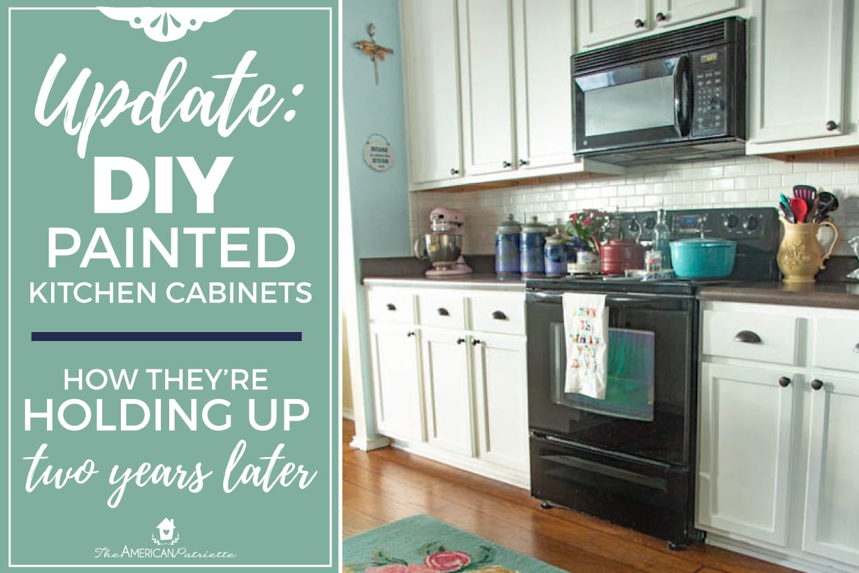 How To Update Kitchen Cabinets Update On Our Diy White Painted Kitchen Cabinets 2 Years Later