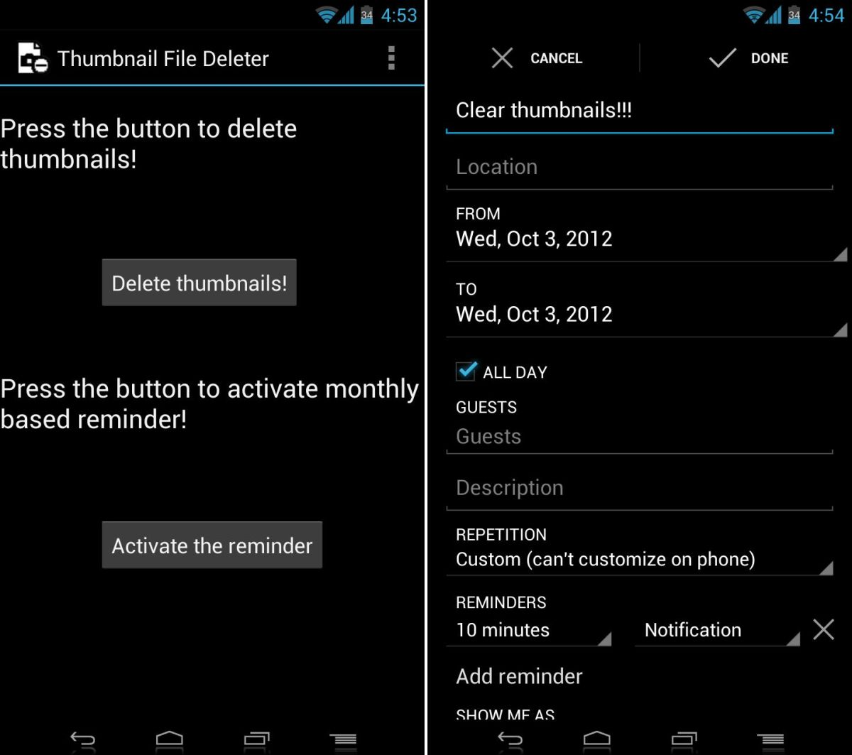 how to delete thumbnails on android