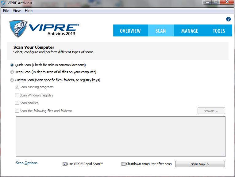 vipre scan tab