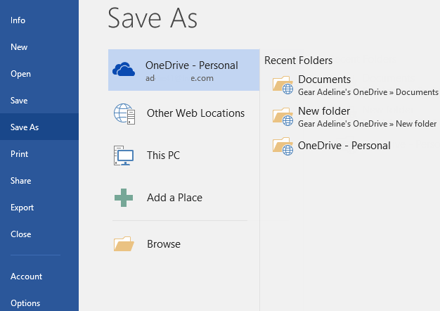 save locations in office 2016