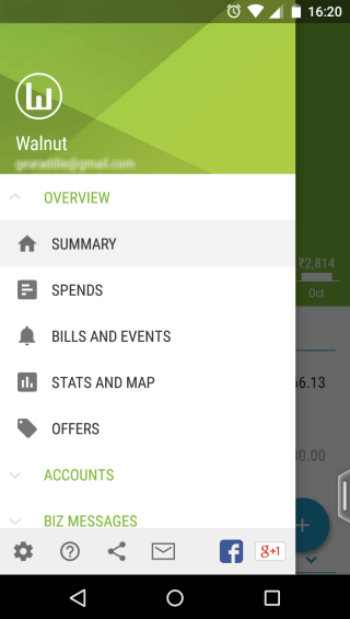 Walnut Expense & Bill Tracker menu section