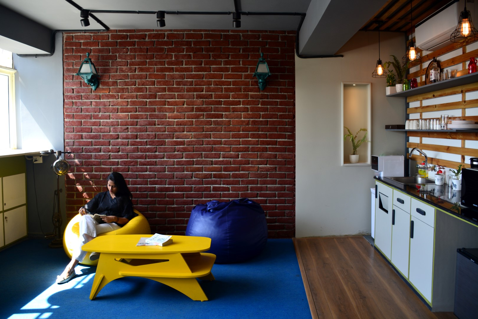 Adding Brick Wall Interior 10 Open Pantry And Breakout Space With Exposed Brick Wall As A