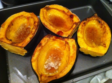 Roasted Acorn Squash with Cayenne Maple Syrup