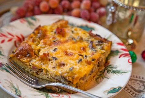 Mushroom, Ham and Cheese Strata