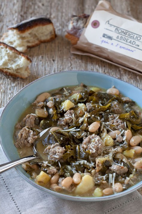 Garlicky Greens and Beans
