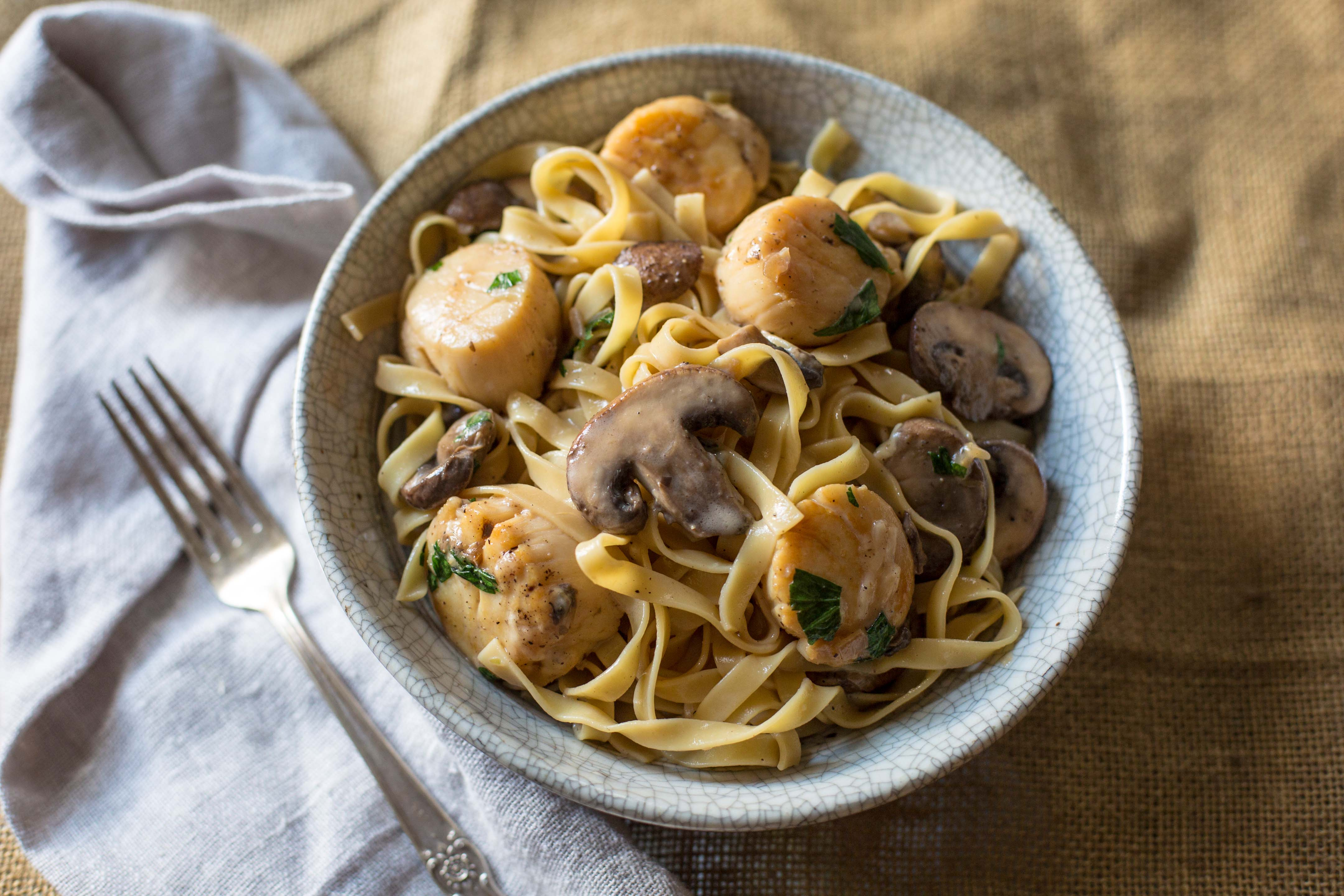 Cuisine Royale Brightness Too High Truffle Scallops Pasta W Mushrooms Shallots