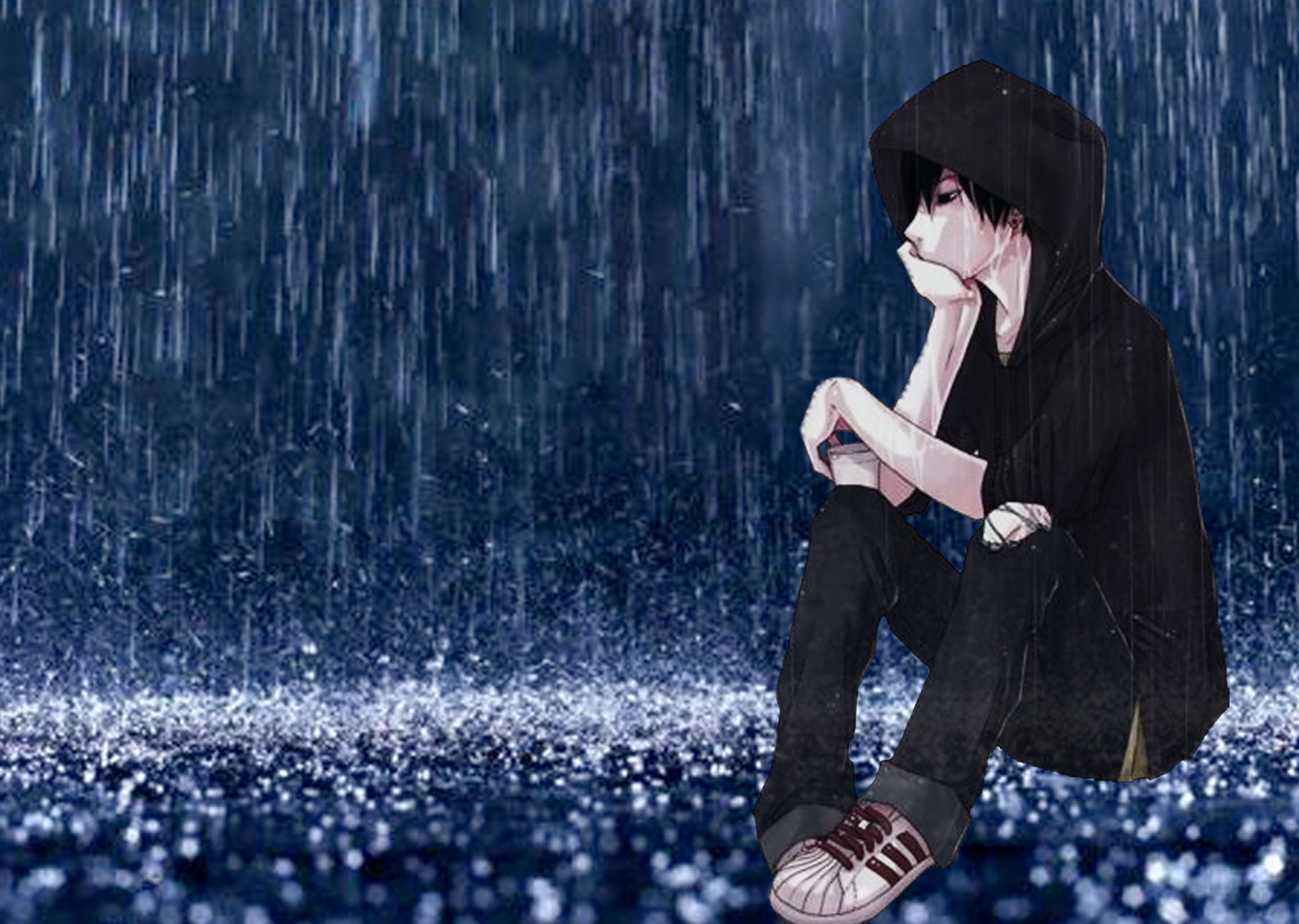 Sad Anime Boy Crying Blood