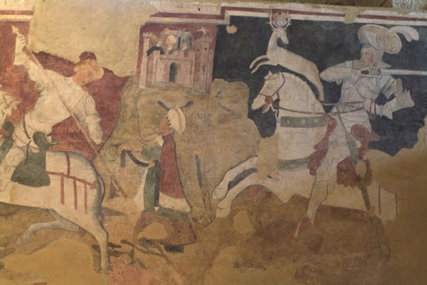 abbazia di santa Maria di Cerrate, museo delle tradizioni popolari, affresco strappato con il Miracolo della Cerva e San Giorgio con la principessa