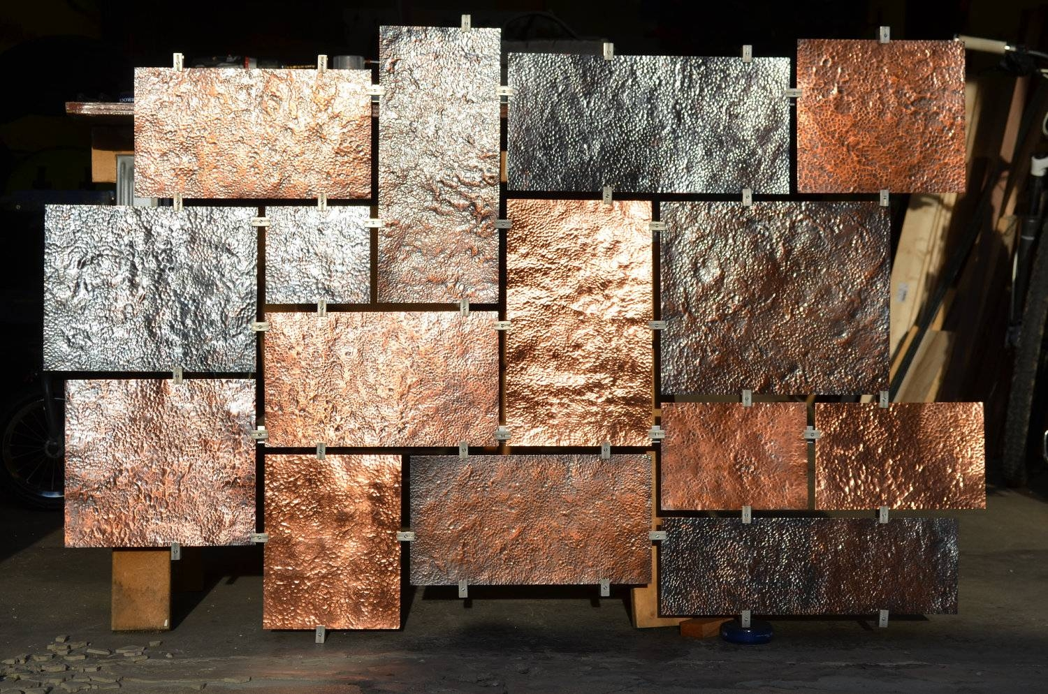 Copper Accent Wall 20 Inspirations Of Hammered Metal Wall Art
