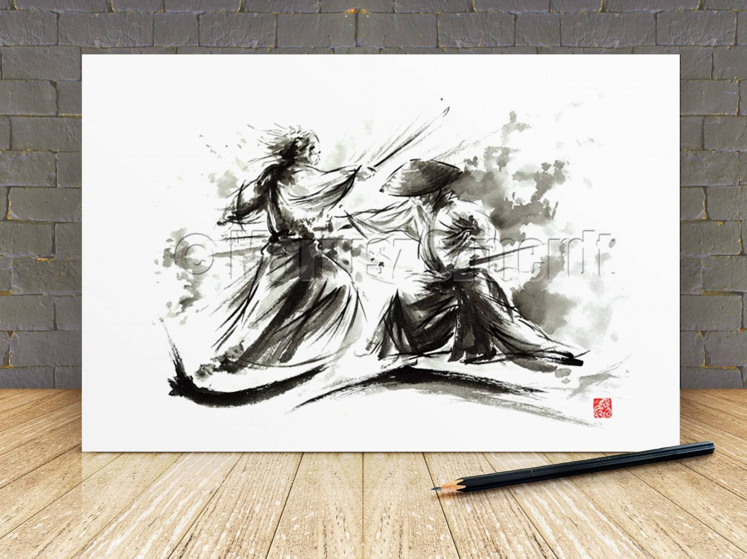 Sword Wall Plaques Displaying Photos Of Samurai Wall Art View 3 Of 20 Photos