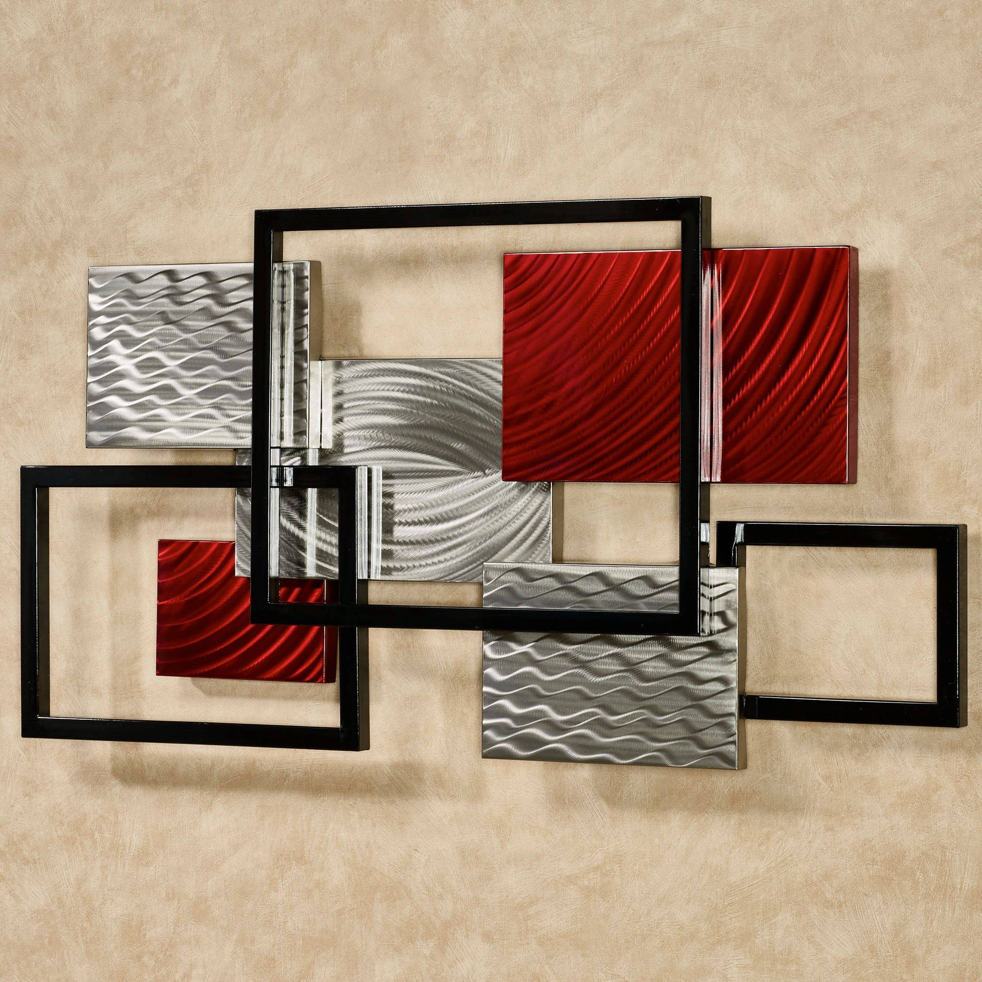 Wall Art Decor 20 Inspirations Of Red Metal Wall Art