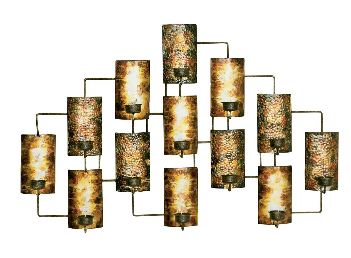 Metallic Decor Design Home Accents 20 Best Metal Wall Art With Candle Holders