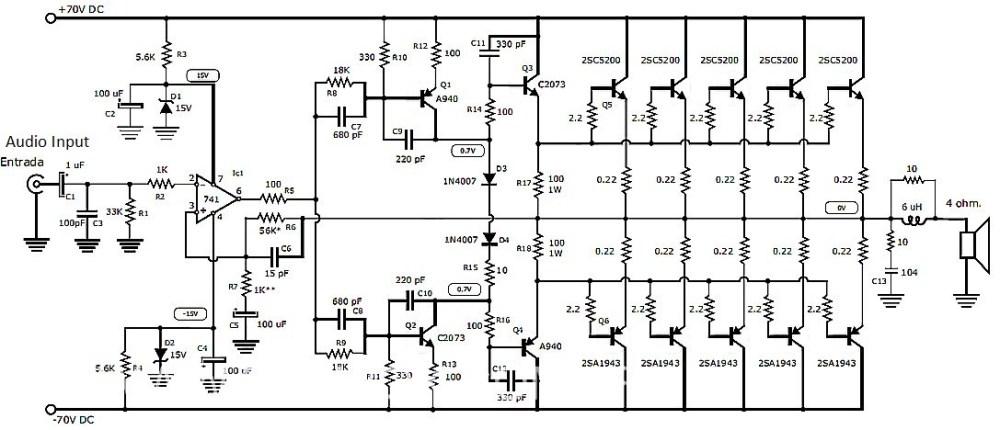 1000w amplifier circuit using transistor