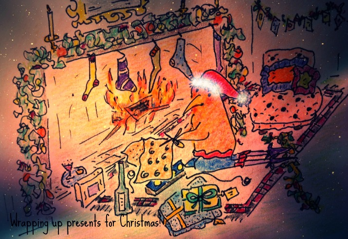 wrapping up presents by the fire