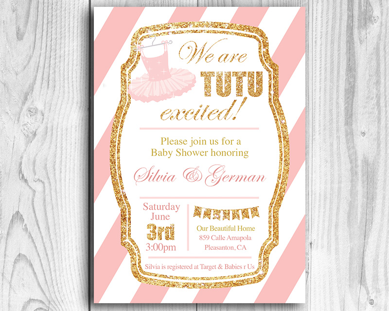 We Are Tutu Excited Printable Baby Shower Invitation The Baby Bee - Printable Baby Shower Invite