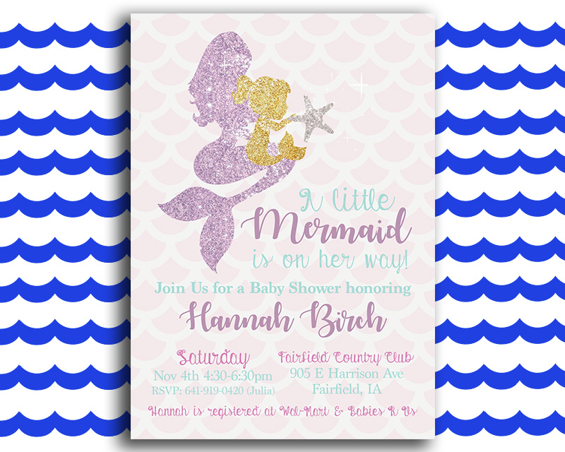 Glittery Mermaid Printable Baby Shower Invitation The Baby Bee - Printable Baby Shower Invite