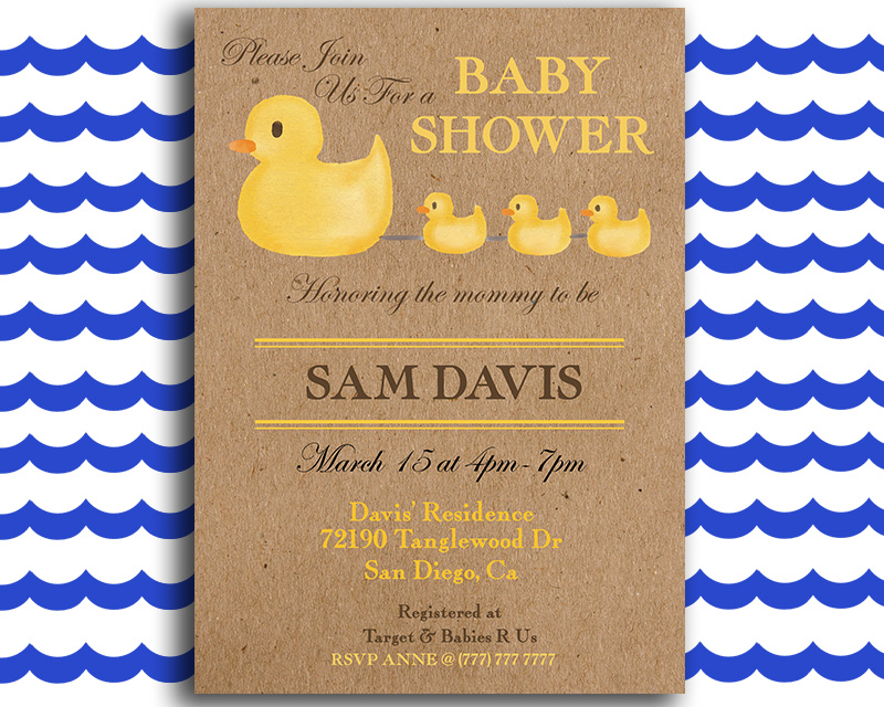 Rubber Duck Printable Baby Shower Invitation The Baby Bee