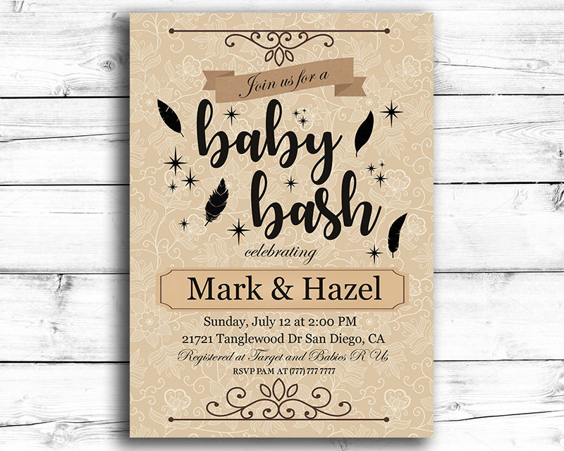 Baby Bash Printable Baby Shower Invitation The Baby Bee - Printable Baby Shower Invite