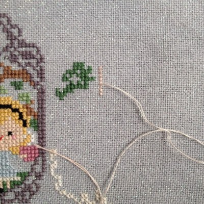 Mod #3 for my #storytimesampler - switched out the purple for the variegated brown Weeks in my kit to give it that weathered feel #crossstitch #frostedpumpkinstitchery
