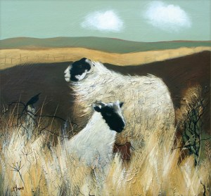 Blackies on Moorland Giclee fine Art Print By Lesley McLaren