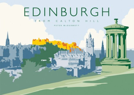 Edinburgh from Calton Hill Art Poster by Peter McDermott from The Bay Attic