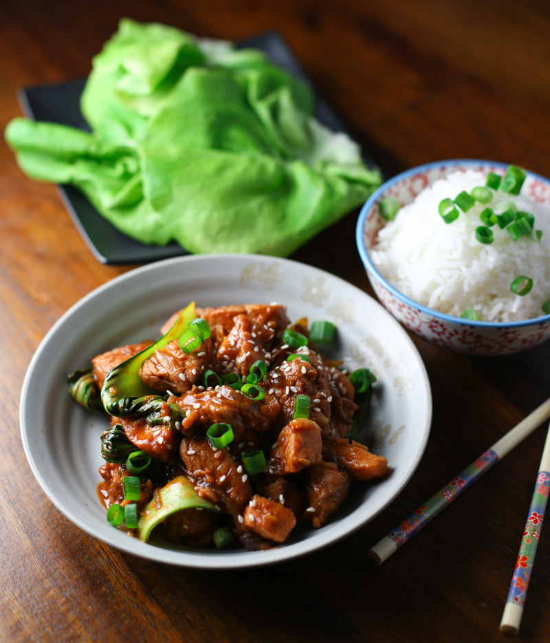 garnish with green onions and sesame seeds serve with rice bap and ...