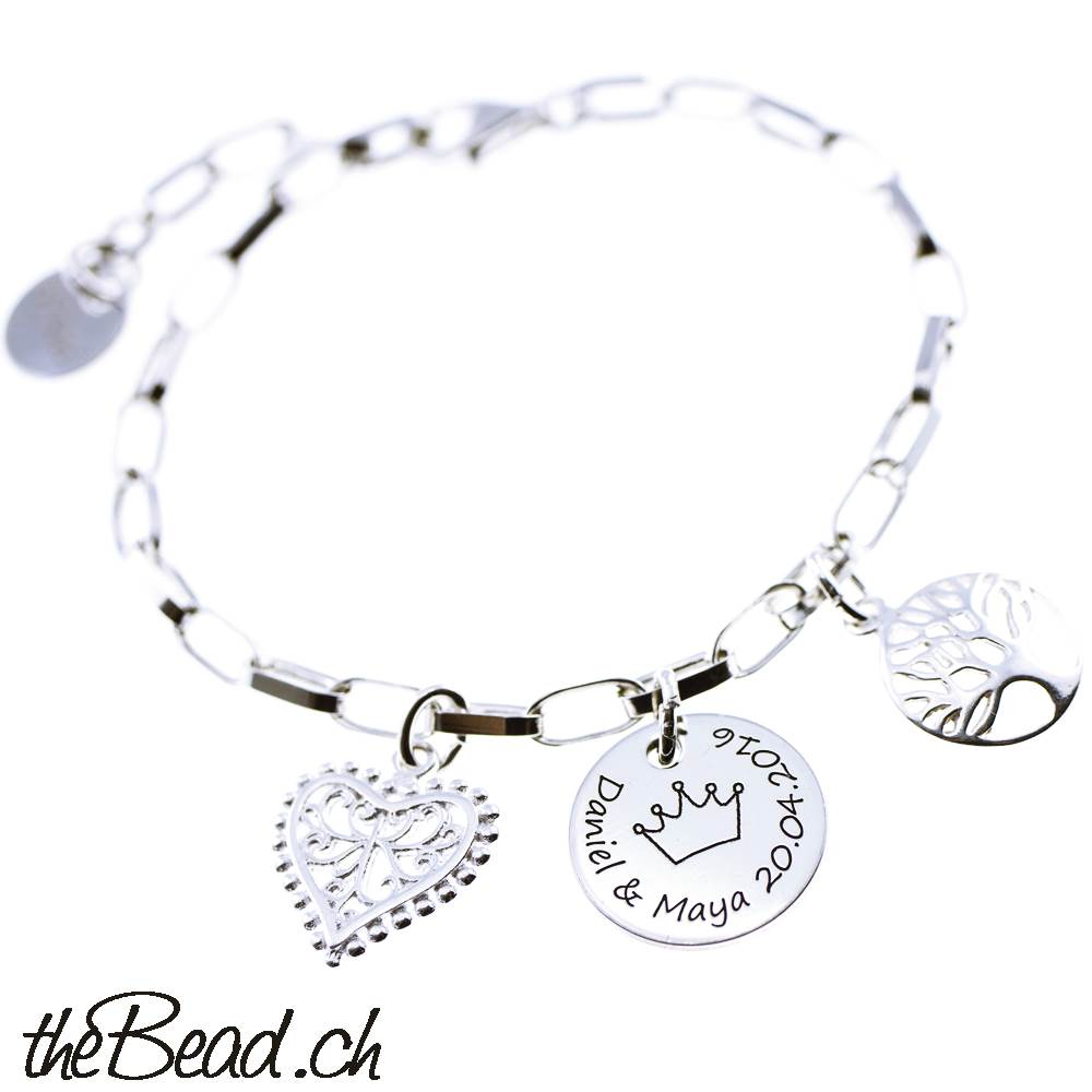 Silver Crown Bettdecken Bracelet With Engraving Pendant 17 Or 19 Cm Long Made Of 925
