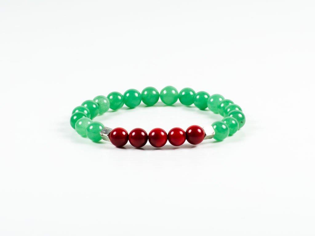 Red Coral Green Aventurine Gemstone Stretch Handmade