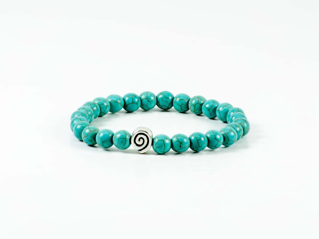 Howlite Gemstone Handmade Stretch Bracelet Unisex Greek