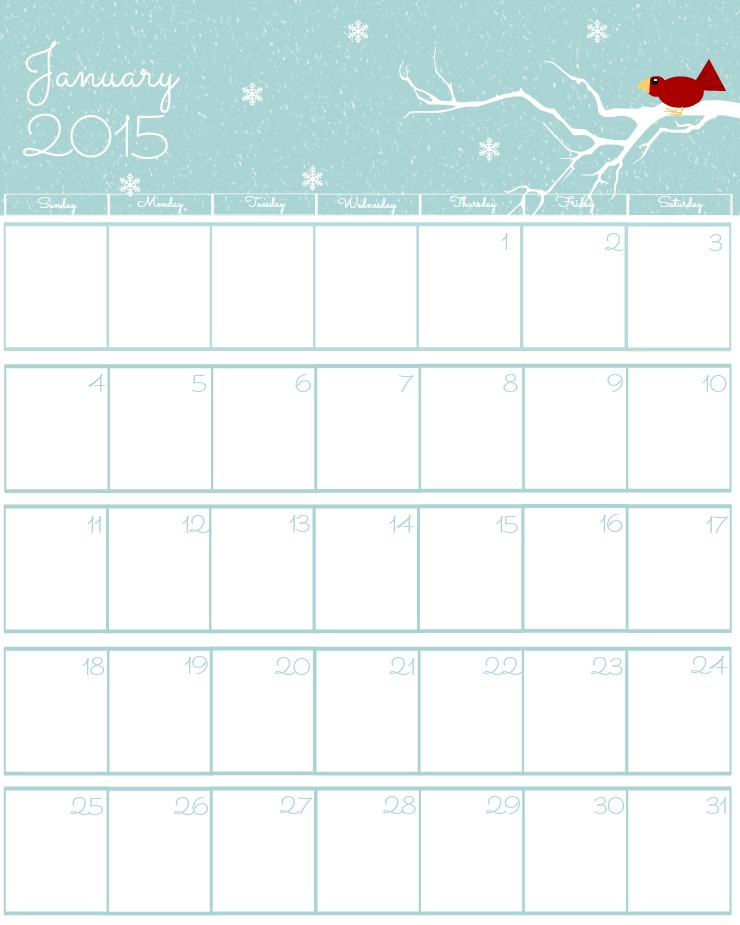 Free 2015 Printable Calendar The Bearfoot Baker - january calendar page
