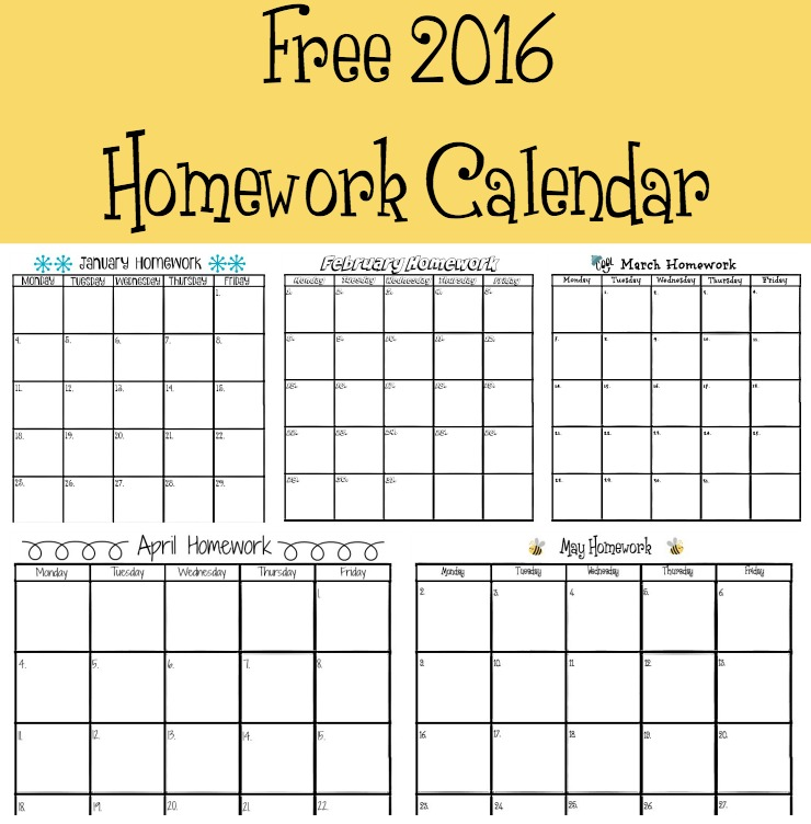 printable homework calendars - Selol-ink