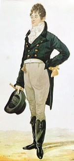 Beau Brummell wears a Regency dress coat as daytime dress. The coat is able to close and the tails are knee length. (Photo credit: Wikipedia)