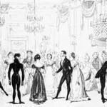 Group dancing formally black coated gentlemen