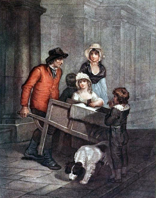 Painting of man pushing a wheelbarrow surrounded by a woman and several children