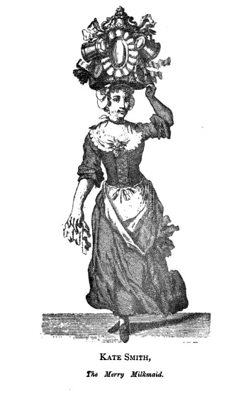 Print of milk-maid balancing her wares on her head