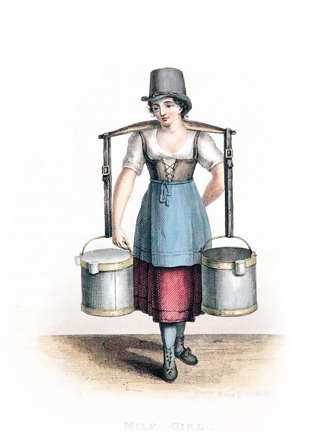 Milk-maid with a yoke on her shoulders by which she carries two pails of milk