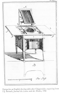 Engraving of Chippendale design for a shaving stand