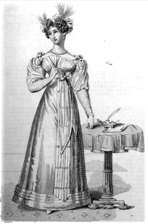Image of a Regency lady next to a small writing table.